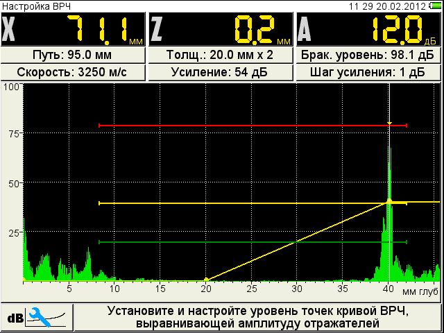 Настройка ВРЧ ультразвукового дефектоскопа А1214 EXPERT