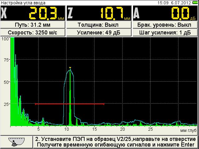 Энергонезависимая память ультразвукового дефектоскопа A1212 MASTER